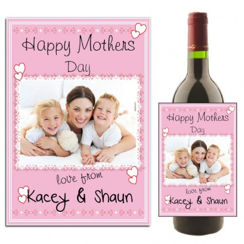 Personalised Happy Mothers Day Wine / Champagne Bottle PHOTO Label N25